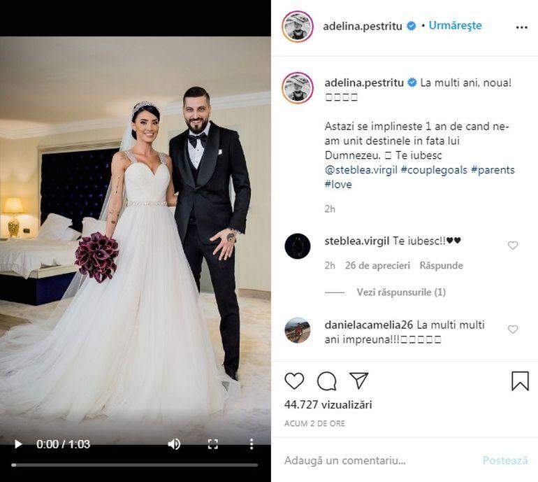 Moment emoționant pentru Adelina Pestrițu! Astăzi se împlinește un an de când a devenit soția lui Virgil Șteblea