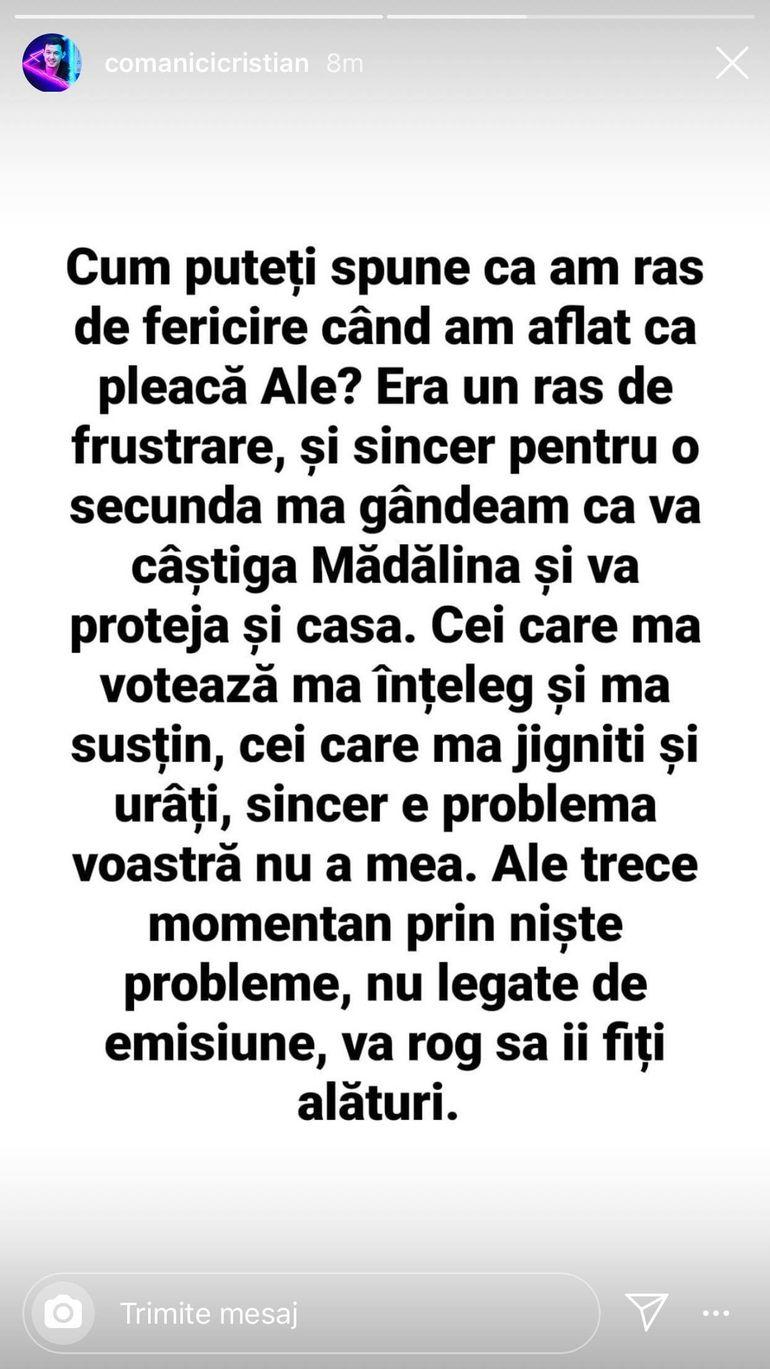 """Cristian Comănici a răbufnit după plecarea concurentei Ale! Cei doi se pregăteau să formeze un cuplu în competiție: """"Vă rog să îi fiți alături"""""""