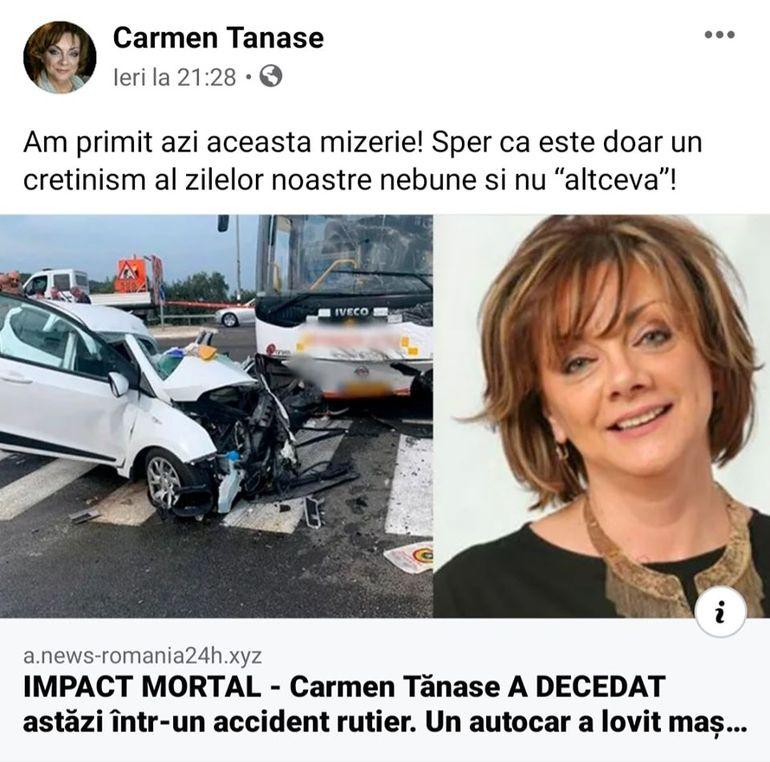 """Carmen Tănase, după ce a văzut știrea că a murit într-un accident """"Nu e prima dată..."""""""