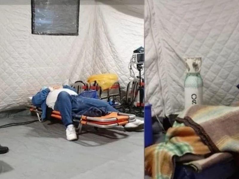 Pacienții internați stau în frig în corturile din curtea spitalului