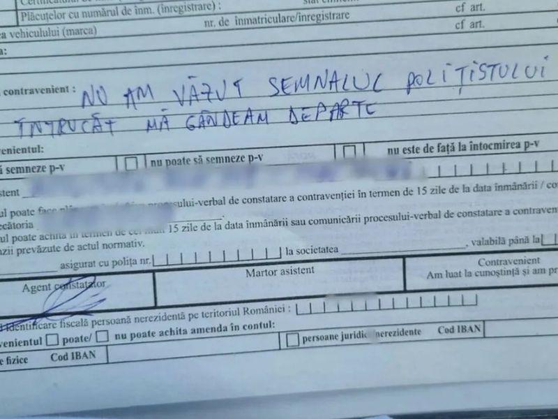 Incredibil ce a scris un șofer din Botoșani pe amendă. Mesajul a ajuns viral la scurt timp