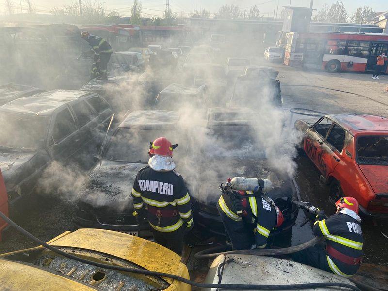 Incendiu la autobaza RAT Craiova