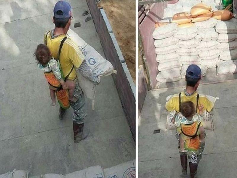 Imaginile care îți vor rupe inima! Un tată își cară fiul în spate, în timp ce muncește