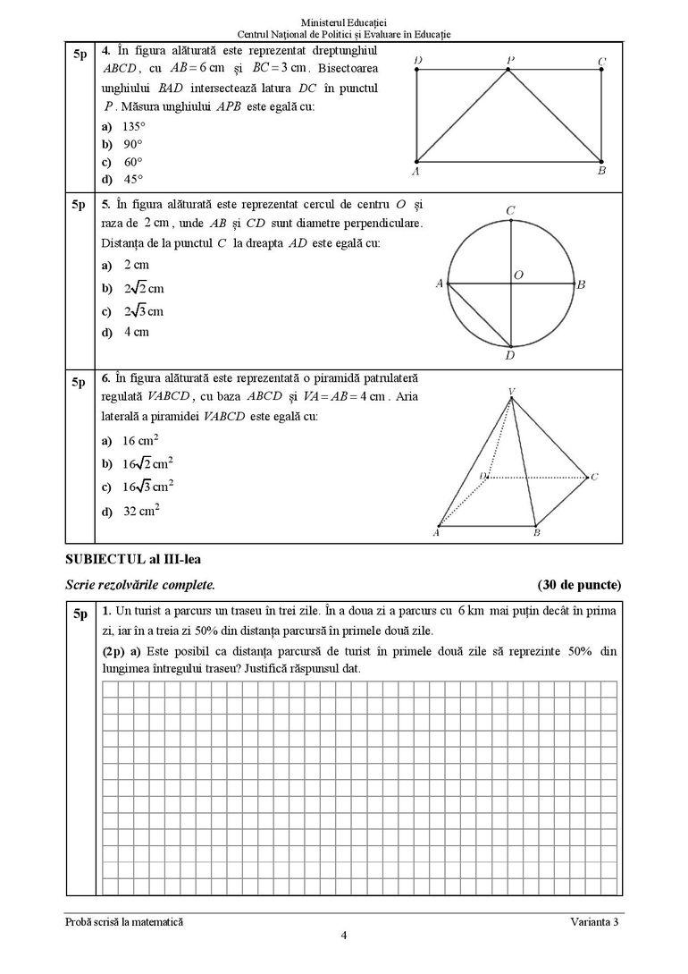 Barem Matematică Evaluare Națională 2021. Grila de corectare a subiectelor la matematică
