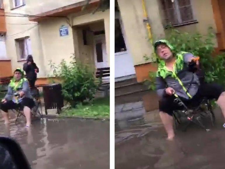 """Haz de necaz în Bragadiru! Un bărbat a fost surprins pescuind în fața blocului. Și-a pus scaunul pe trotuar și s-a apucat să """"prindă"""" pește: """"Aveți grijă la rechini"""""""