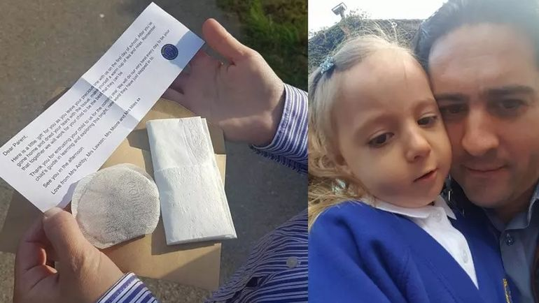 Fetiță unui român, în prima zi de școală în Anglia. A primit un șervețel, un plic de ceai și un bilețel cu un mesaj. Ce scria pe hârtie