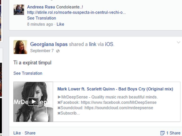 """Mesajul cutremurator postat de fata moarta in Centrul Vechi in ziua in care a decedat! """"Ti-a expirat timpul"""", a scris Georgiana pe Facebook!"""