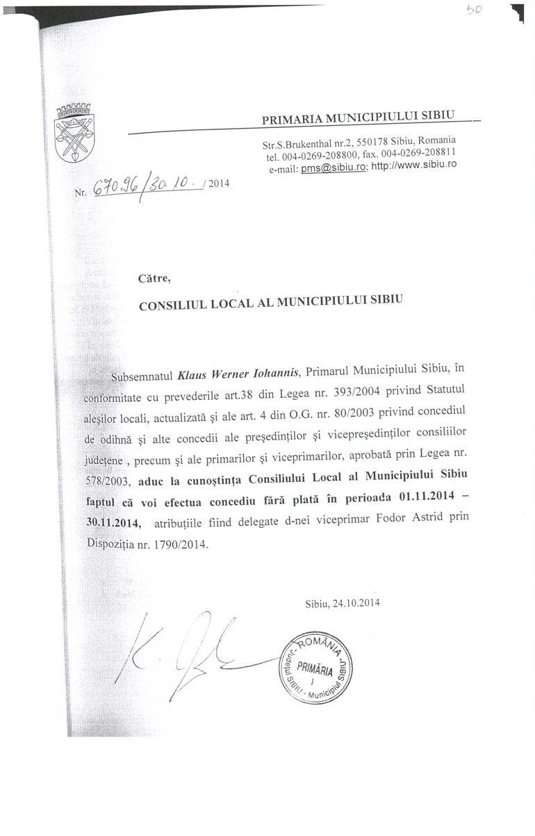 FOTO Uite cum arata cererea pe care a completat-o Klaus Iohannis cand a cerut o luna concediu fara plata!