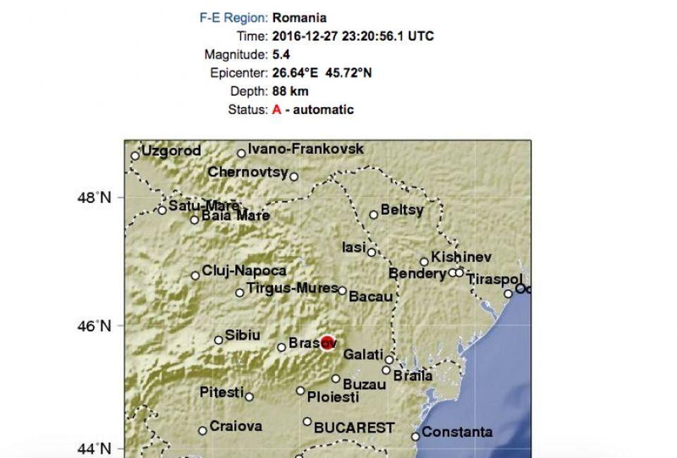 CUTREMUR de 5,3 grade pe scara Richter! Seismul puternic puternic din Romania s-a produs la 01:20 (VIDEO)