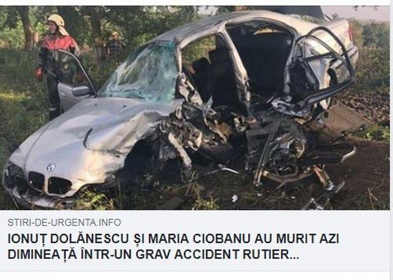 Prima reacţie după ce s-a scris că Maria Ciobanu a murit într-un accident rutier! S-a dezvăluit că în maşină a fost şi Ionuţ Dolănescu!