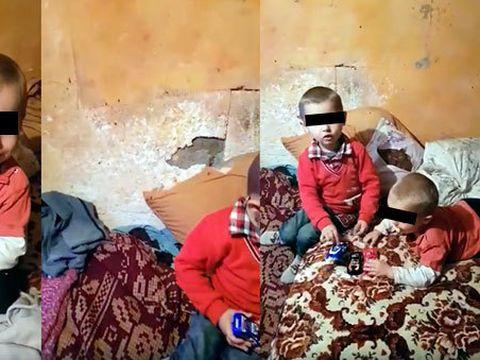 Doi frăţiori de 5 şi 2 ani din Gorj trăiesc în condiţii greu de IMAGINAT într-o cămăruţă de câţiva metri! Povestea lor este tragică
