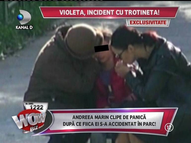 Violeta, fiica Andreei Marin, a cazut cu trotineta! Vezi cum i-a acordat