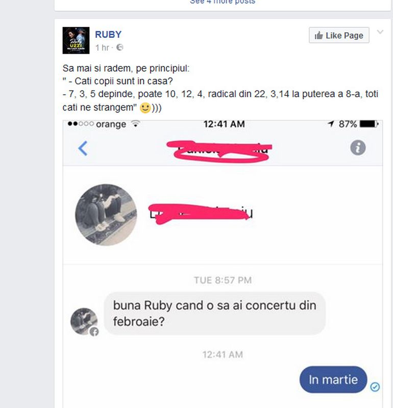 Ruby a facut misto de o admiratoare! Pustoaica i-a scris pe Facebook si a intrebat-o despre un concert, iar cantareata si-a batut joc de ea