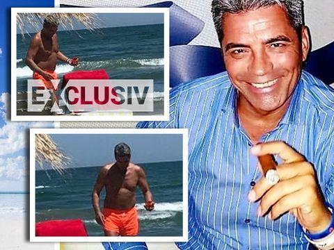 Fostul sot al Gabrielei Cristea, show la plaja! Singur pe sezlong, Marcel Toader se intretine ca un metrosexual iesit la agatat VIDEO EXCLUSIV
