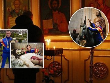 Ce credincios e Mirel Dragan de la Exatlon! Uite-l cum s-a rugat langa o statuie ce-l infatiseaza pe Isus insangerat!