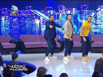 """Bursucu, prima emisiune la """"Vulturii de noapte""""! A dansat fabulos Macarena alături de Cătălin şi Victor"""