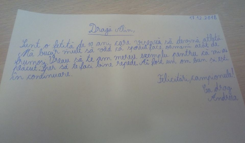 """Alin Andronic a primit o scrisoare formidabilă de la o fetiţă de 10 ani! Finalistul Exatlon 2 a fost copleşit: """"Fără cuvinte! Mulţumesc, pui mic şi frumos!"""""""
