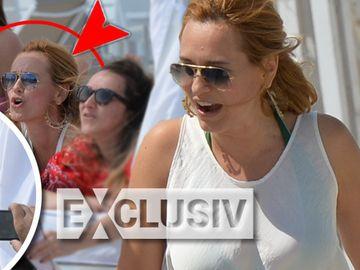Andreea Esca, show in costum de baie, cu prietenele sale, la plaja, de fata cu sotul ei! Video exclusiv