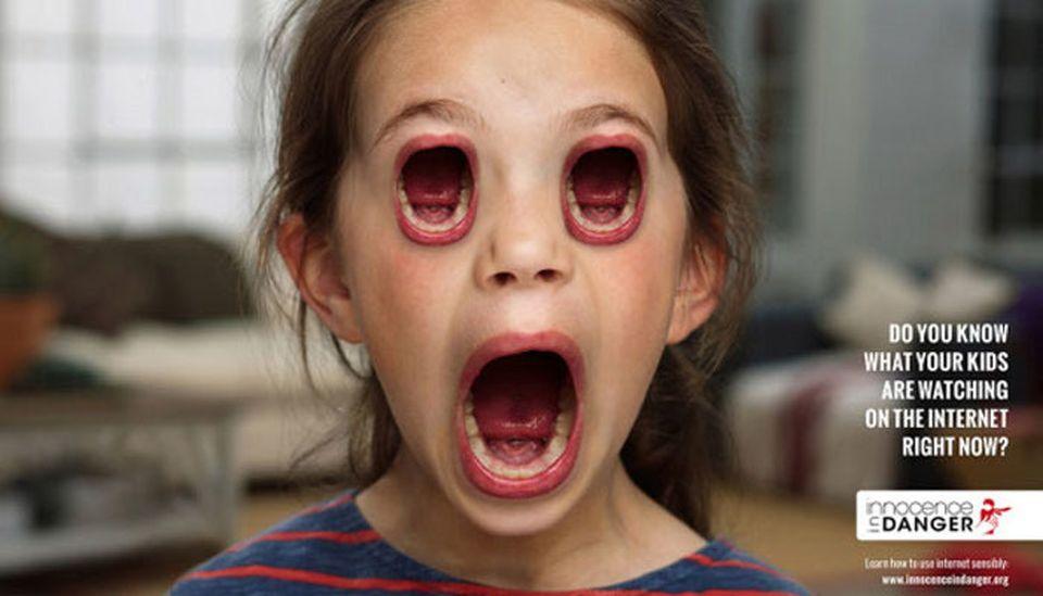 Reclame şocante interzise – Copiii cu guri în loc de ochi