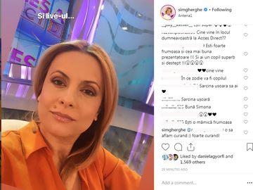 Simona Gherghe, întrebată cine o va înlocui în emisiune după ce intră iar în concediu prenatal! Ce răspuns a dat prezentatoarea