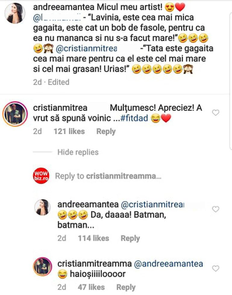 Dialog haios între Andreea Mantea și Cristi Mitrea! Totul a pornit de la o replică amuzantă a fiului lor, David