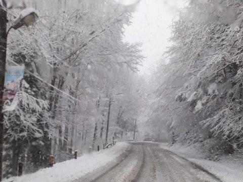 Ninge în Predeal! Utilaje de deszapezire pe DN1: Stratul de zăpadă este de 2-3 centimetri. FOTO