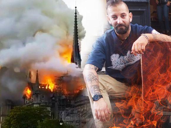 Un celebru pictor român a prevestit incendiul de la Notre Dame! Într-un tablou al lui Paul Hitter, catedrala a fost desenată luând foc de la lumânările din coroana unui rrom! FOTO