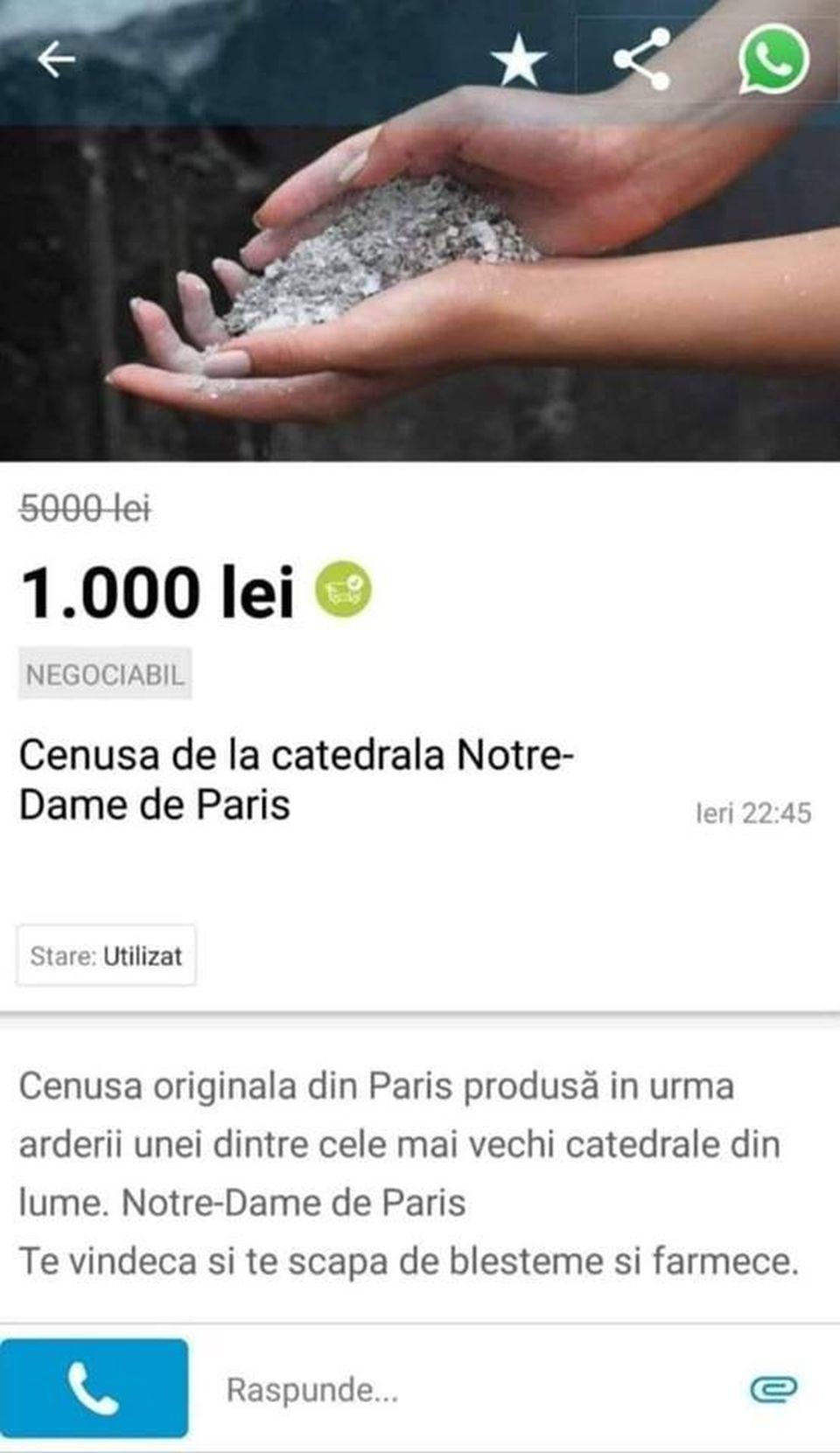 Românii au început să vândă pe internet cenușă de la Notre Dame! Prețul uluitor pe care îl cer comercianții!