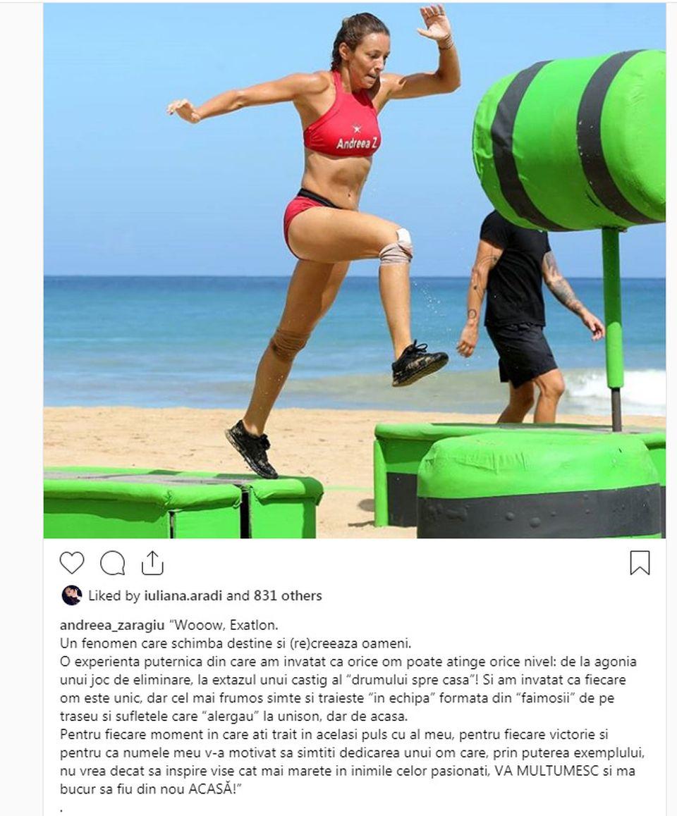 Ce a apărut pe contul de Instagram al Andreei Zaragiu după ce a fost eliminată de la Exatlon - Iulia Aradi a dat like