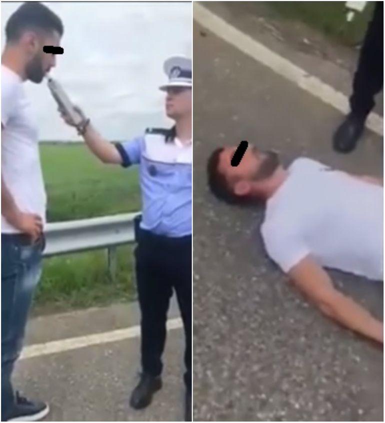 Viral: Imagini demențiale cu un șofer care suflă în etilotest, apoi leșină în fața polițiștilor