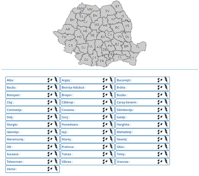 România nu scapă de ploi, vijelii și grindină. Cod galben de vreme rea în următoarele ore