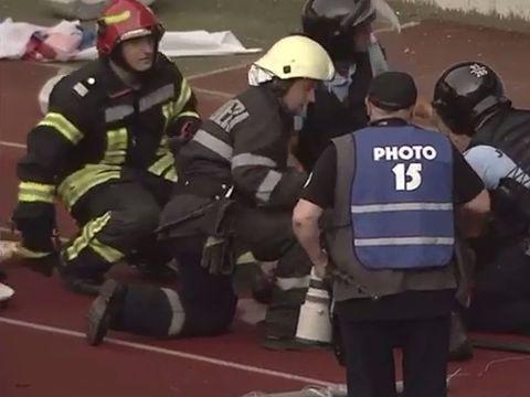 Stare de panică la meciul U Cluj - FC Hermannstadt! Un jandarm a fost rănit grav