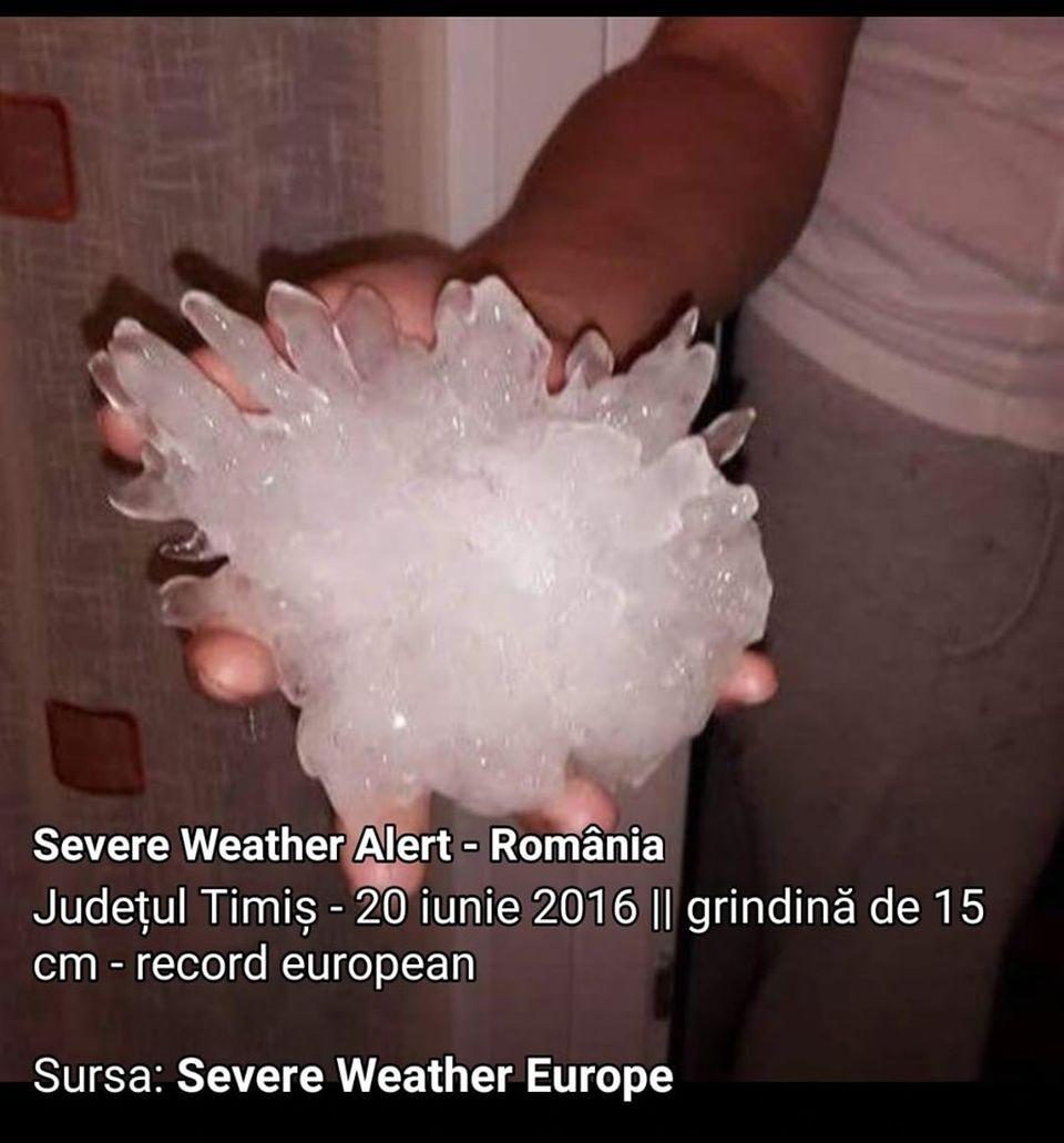 Grindină gigant, de 15 centimetri, în România! E cea mai mare din toată Europa!