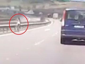 La un pas de tragedie! Imagini uluitoare pe Autostrada Transilvania! Un biciclist, surprins pe contrasens! A fost alertată Poliția