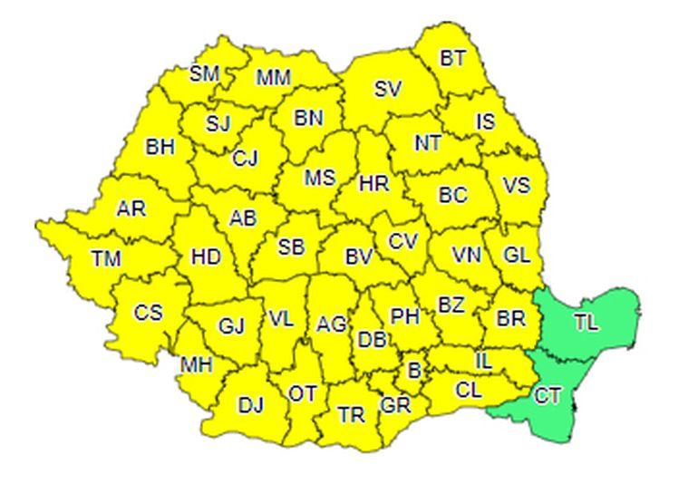 Nu scăpăm de furtuni! E din nou cod galben în toată țara! Care sunt singurele zone unde nu va ploua torențial