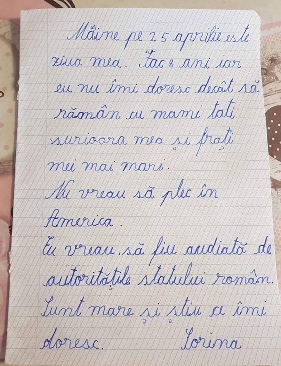 """Scrisoarea zguduitoare scrisă de Sorina, fetița de 8 ani din Baia de Aramă, înainte de a fi luată cu mascații: """"Nu vreau să plec în America"""""""