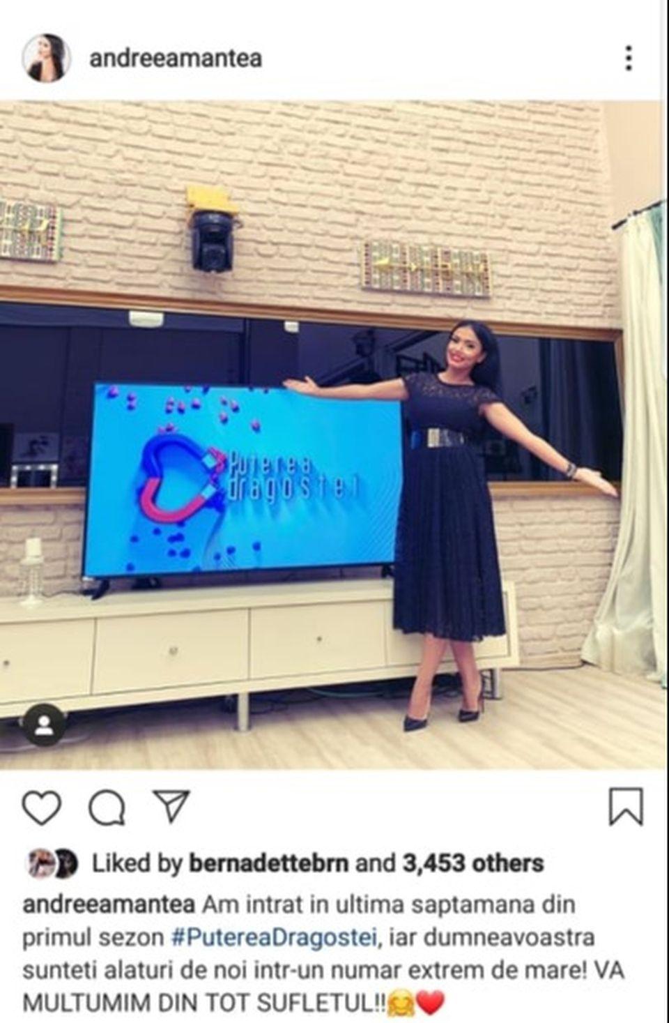Ce a apărut pe contul de Instagram al Andreei Mantea cu patru zile înainte de finala Puterea dragostei! Simina i-a dat like