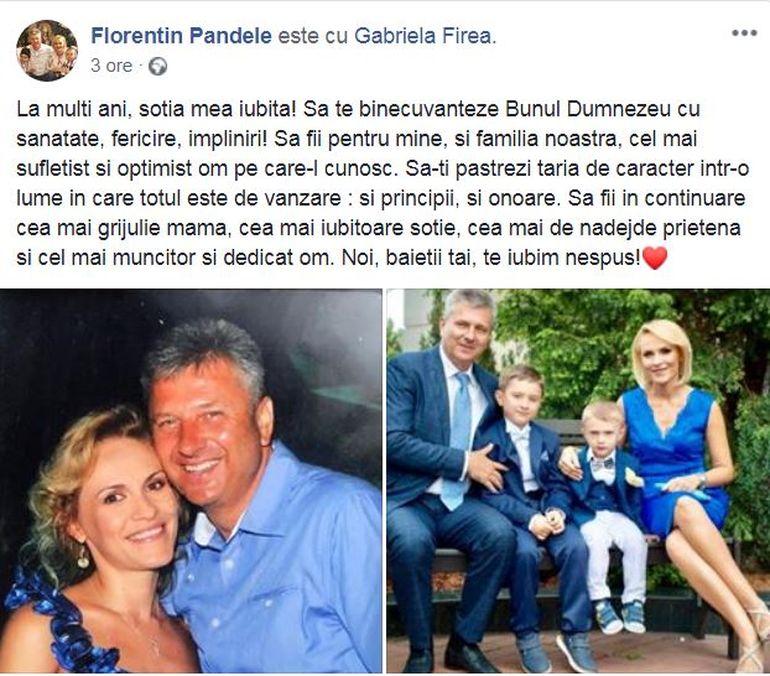Florentin Pandele, mesaj emoționant pentru soția sa, Gabriela Firea