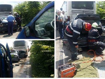 Accident în lanț între un autocar, un microbuz și o mașină! Cinci persoane au fost rănite