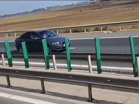 Un șofer a fost filmat pe autostradă cum gonește pe contrasens! Cine este șoferul inconștient
