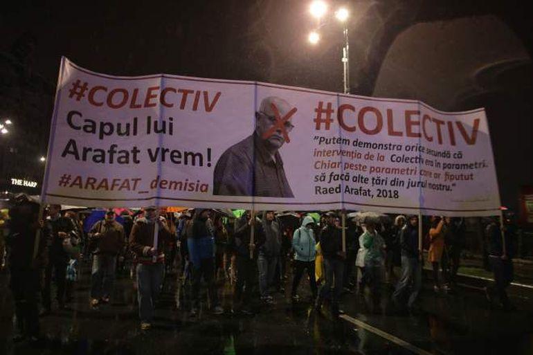 """Ce s-a scandat aseară la marșul """"4 ani de la Colectiv"""": """"Capul lui Arafat vrem!"""""""