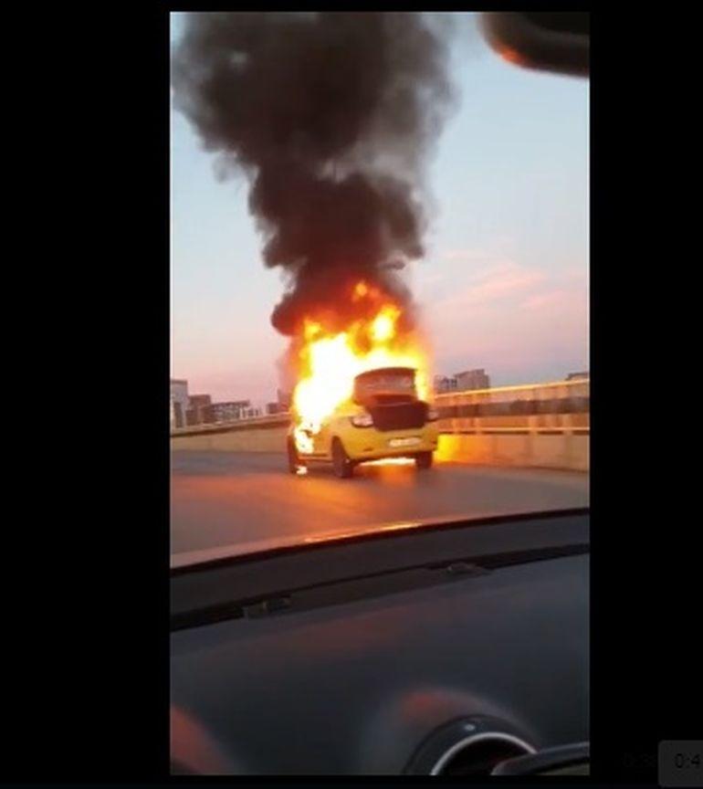 Incident grav pe podul Pipera din Capitală. Un șofer de taxi din Capitală la un pas de a fi incinerat la locul de muncă