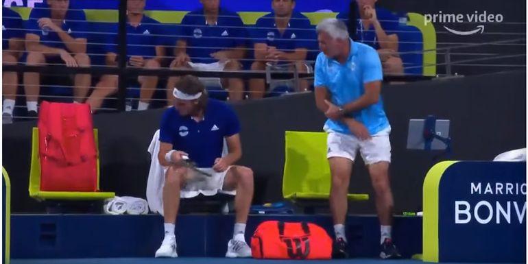 Stefanos Tsitsipas, ieșire violentă la ATP Cup! Și-a lovit tatăl cu racheta, în timpul meciului! Mama jucătorului de tenis a intervenit imediat