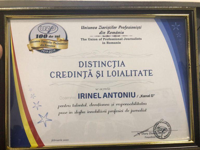 Jurnalist Kanal D, premiat de Uniunea Ziaristilor Profesionisti din Romania