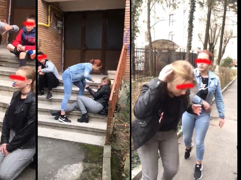 Video șocant. Minoră, bătută  în plină stradă la Râmnicu Vâlcea