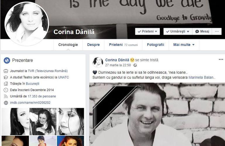 """Veste cruntă pentru Corina Dănilă! Vedeta este în doliu: """"Dumnezeu să te ierte și să te odihnească, nea Ioane..."""""""