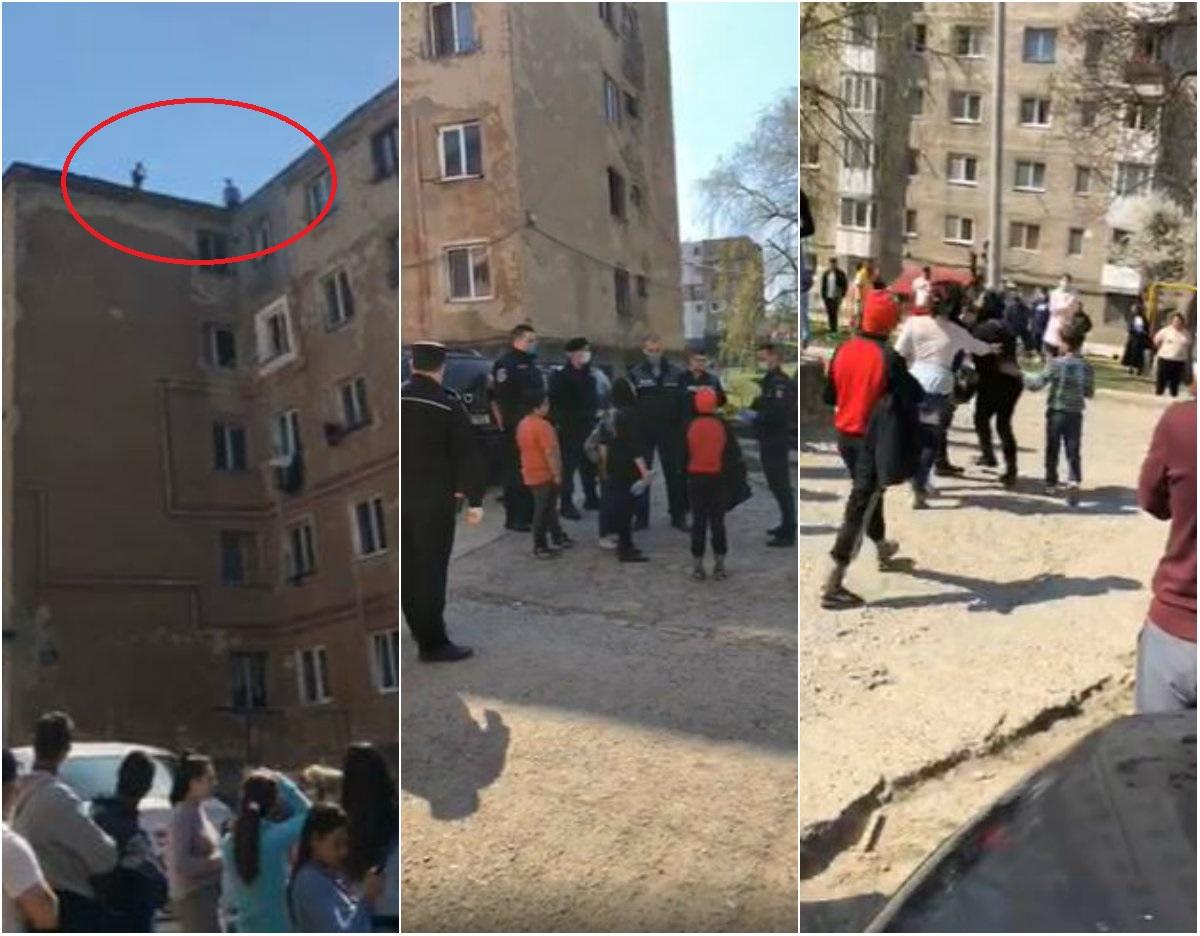 """LIVE - Scene halucinante în România, în plină pandemie! Oamenii refuza izolarea, dau cu pietre în polițiști și amenință că se aruncă de pe bloc: """"Să ieșim toți..."""