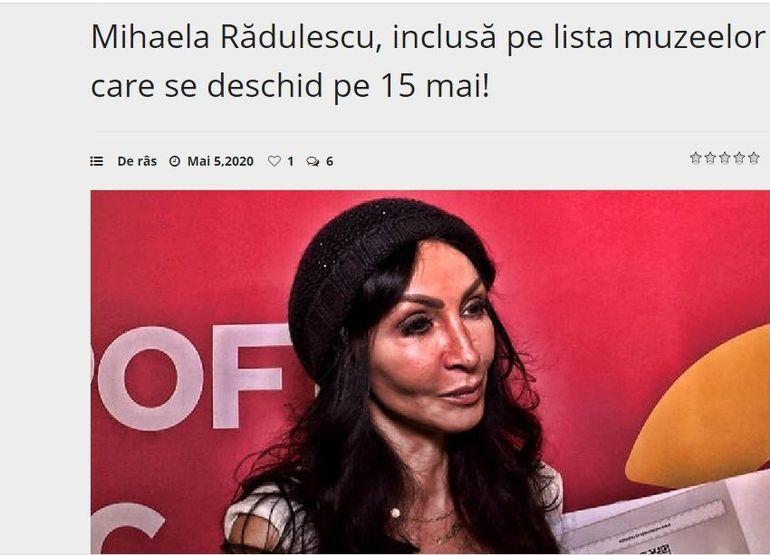 """Mihaela Rădulescu a fost ironizată din cauza operațiilor estetice: """"Inclusă pe lista muzeelor care se deschid pe 15 mai!"""""""
