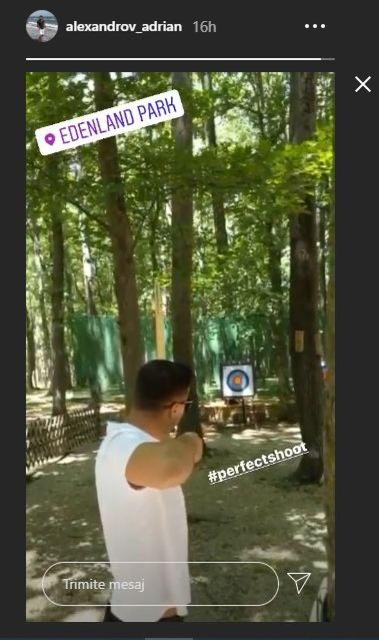 Iubitul Elenei Udrea s-a ascuns în pădure ca să tragă cu arcul! Adrian Alexandrov a țintit perfect cu sulița! FOTO