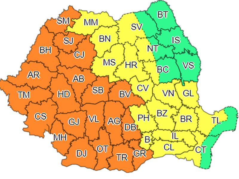Vremea în România. Avertisment de cod galben sau cod portocaliu